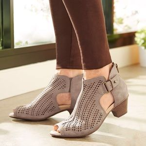 Earth Nubuck Perforated Peep Toe Keri Booties Boot